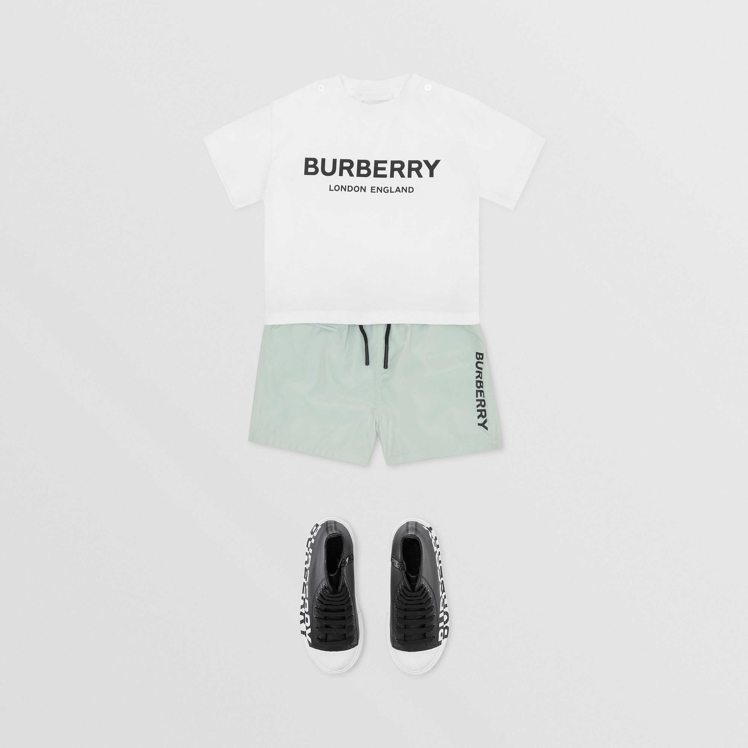 Logo Print Cotton T-shirt in White - Children | Burberry - 3