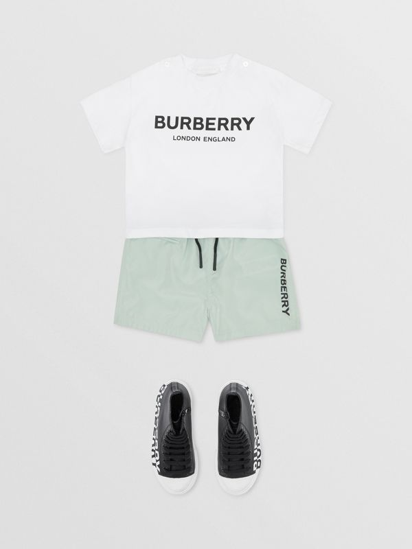 Logo Print Cotton T-shirt in White - Children | Burberry United States - cell image 2