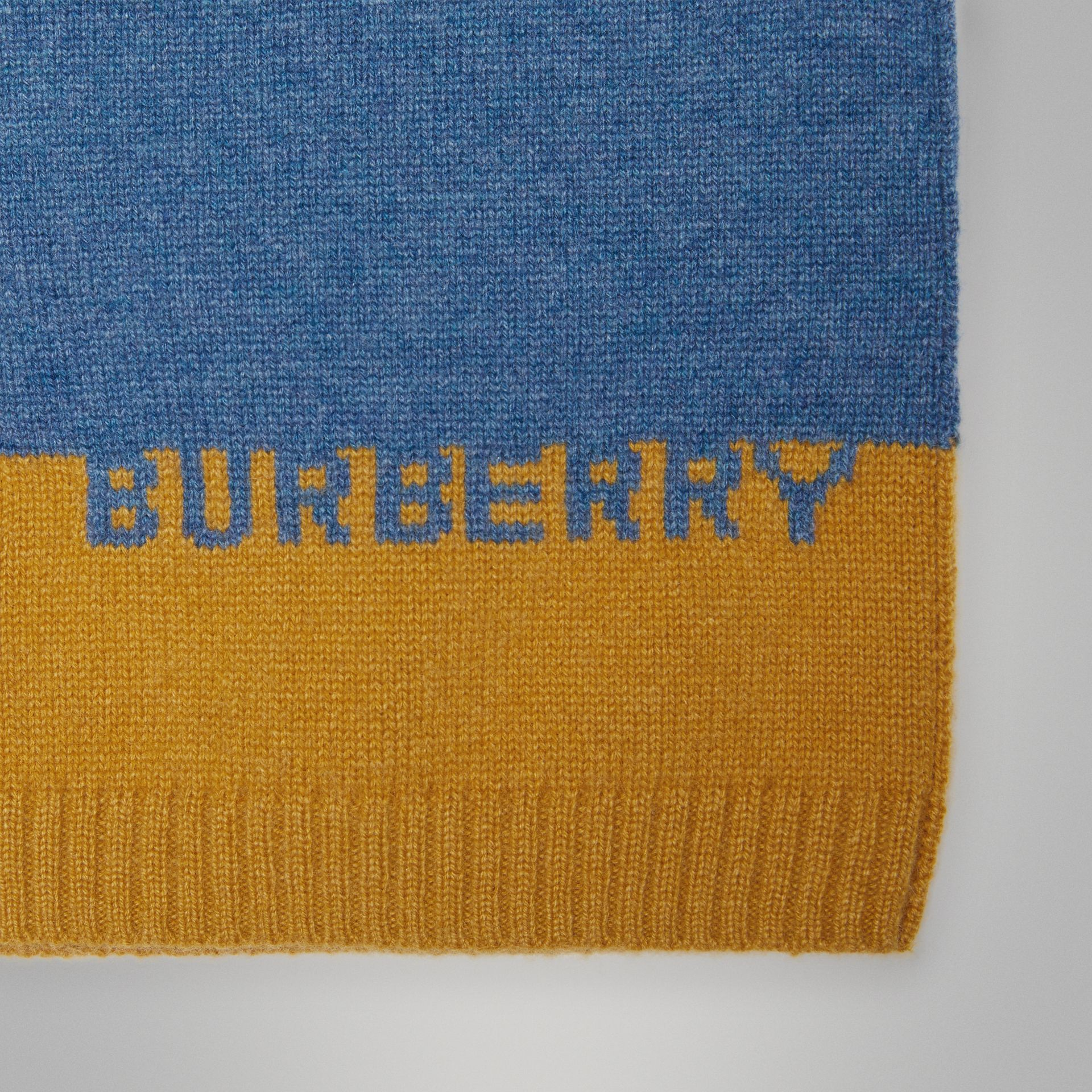 Logo Intarsia Cashmere Sweater in Dusty Blue Melange - Children | Burberry - gallery image 1