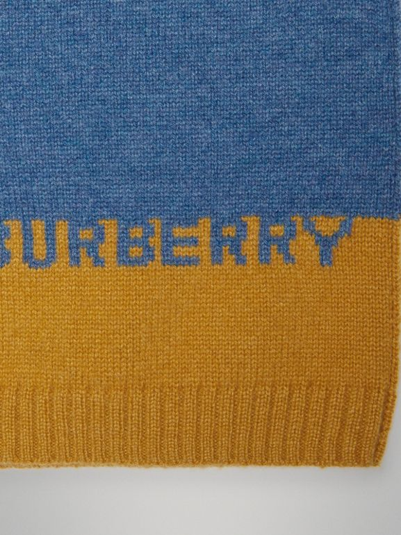 Logo Intarsia Cashmere Sweater in Dusty Blue Melange - Children | Burberry Australia - cell image 1