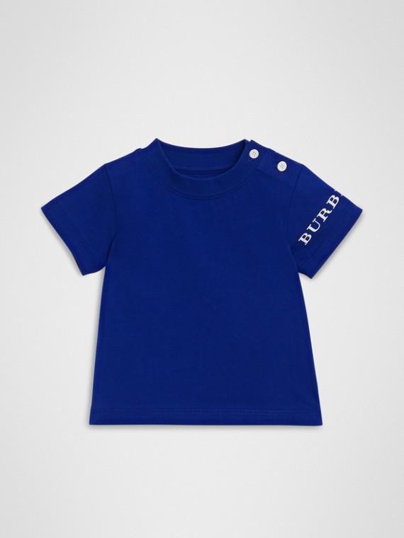 Camiseta de algodão com estampa de logotipo (Azul Cobalto)