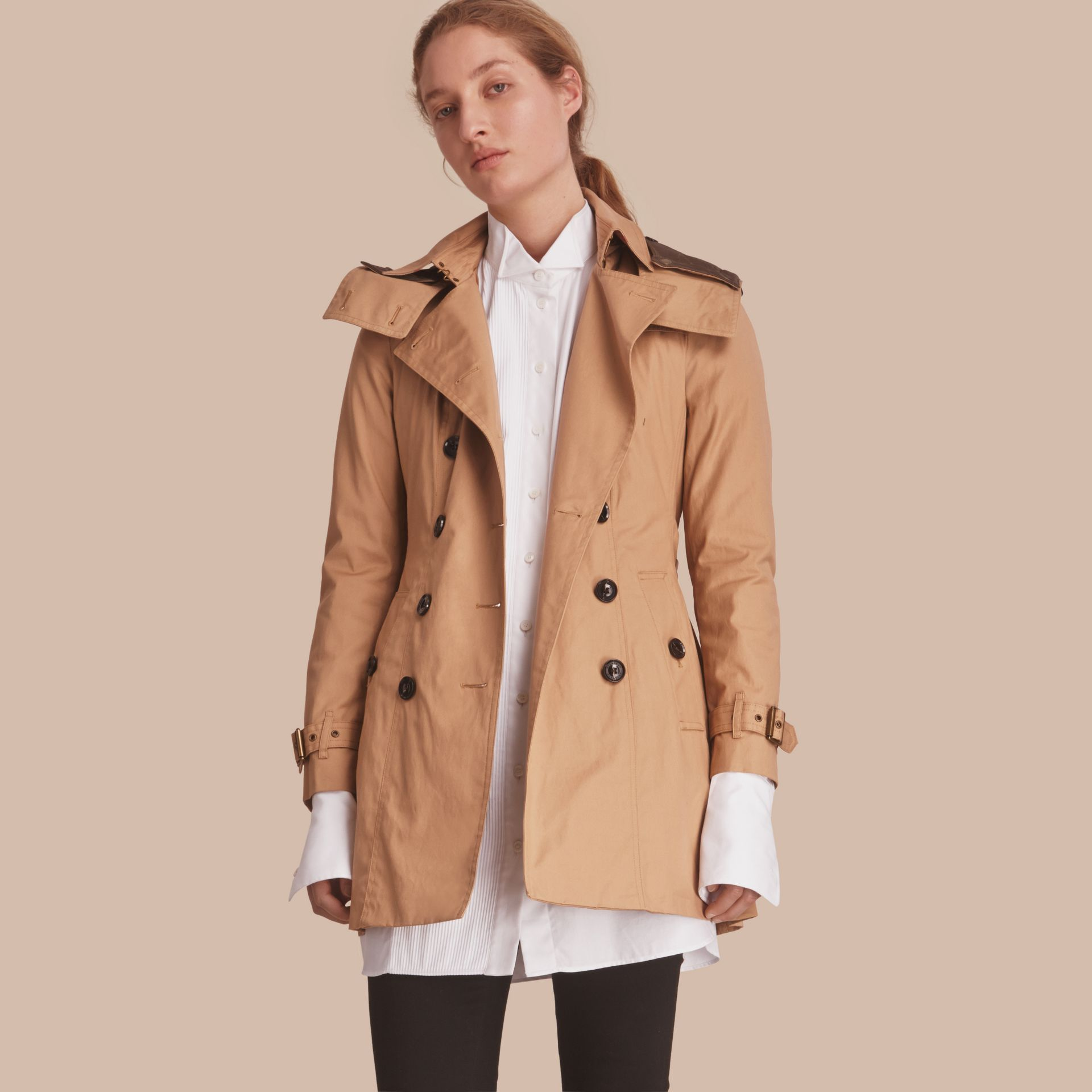 Hooded Trench Coat with Warmer in Light Camel - gallery image 1