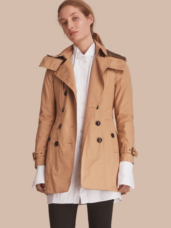 Hooded Trench Coat with Warmer in Light Camel