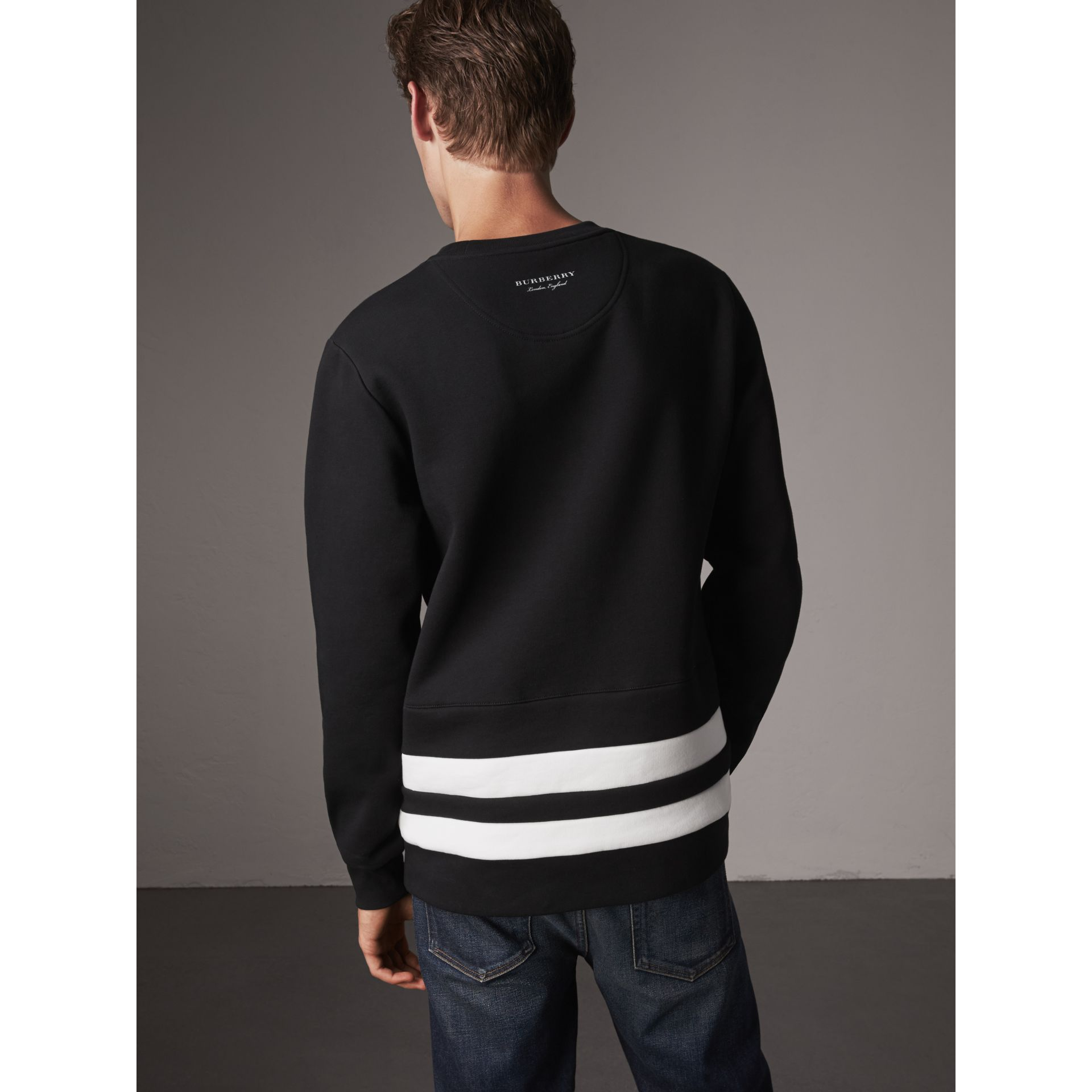 Striped Hem Cotton Blend Sweatshirt in Black - Men | Burberry Singapore - gallery image 3