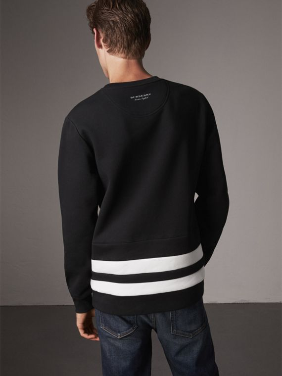 Striped Hem Cotton Blend Sweatshirt in Black - Men | Burberry Singapore - cell image 2