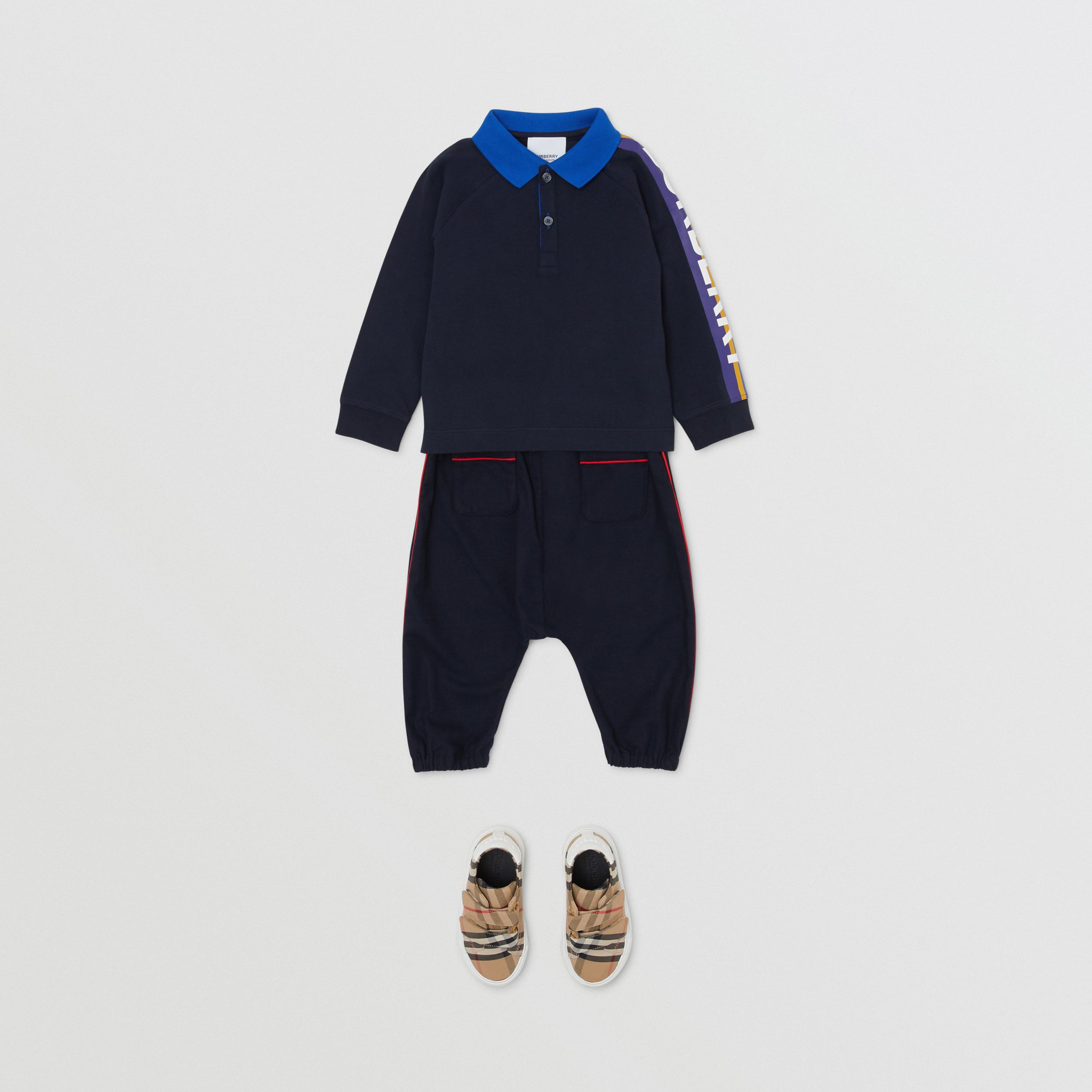 Long-sleeve Logo Print Cotton Polo Shirt in Navy - Children | Burberry - 3