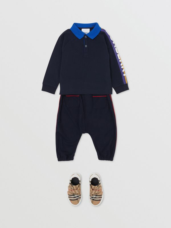Long-sleeve Logo Print Cotton Polo Shirt in Navy - Children | Burberry Singapore - cell image 2