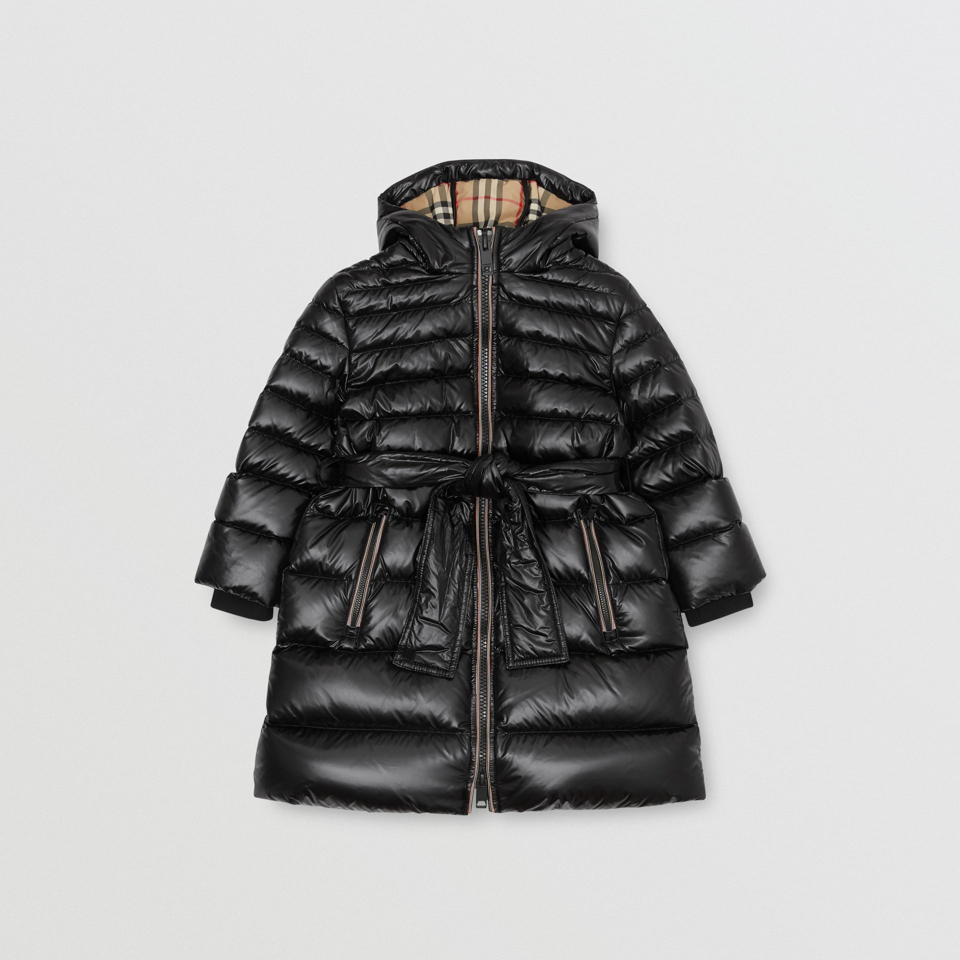 Icon Stripe Detail Down-filled Hooded Puffer Coat in Black | Burberry Australia - gallery image 0