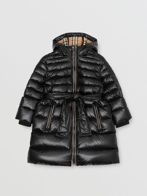 Icon Stripe Detail Down-filled Hooded Puffer Coat in Black