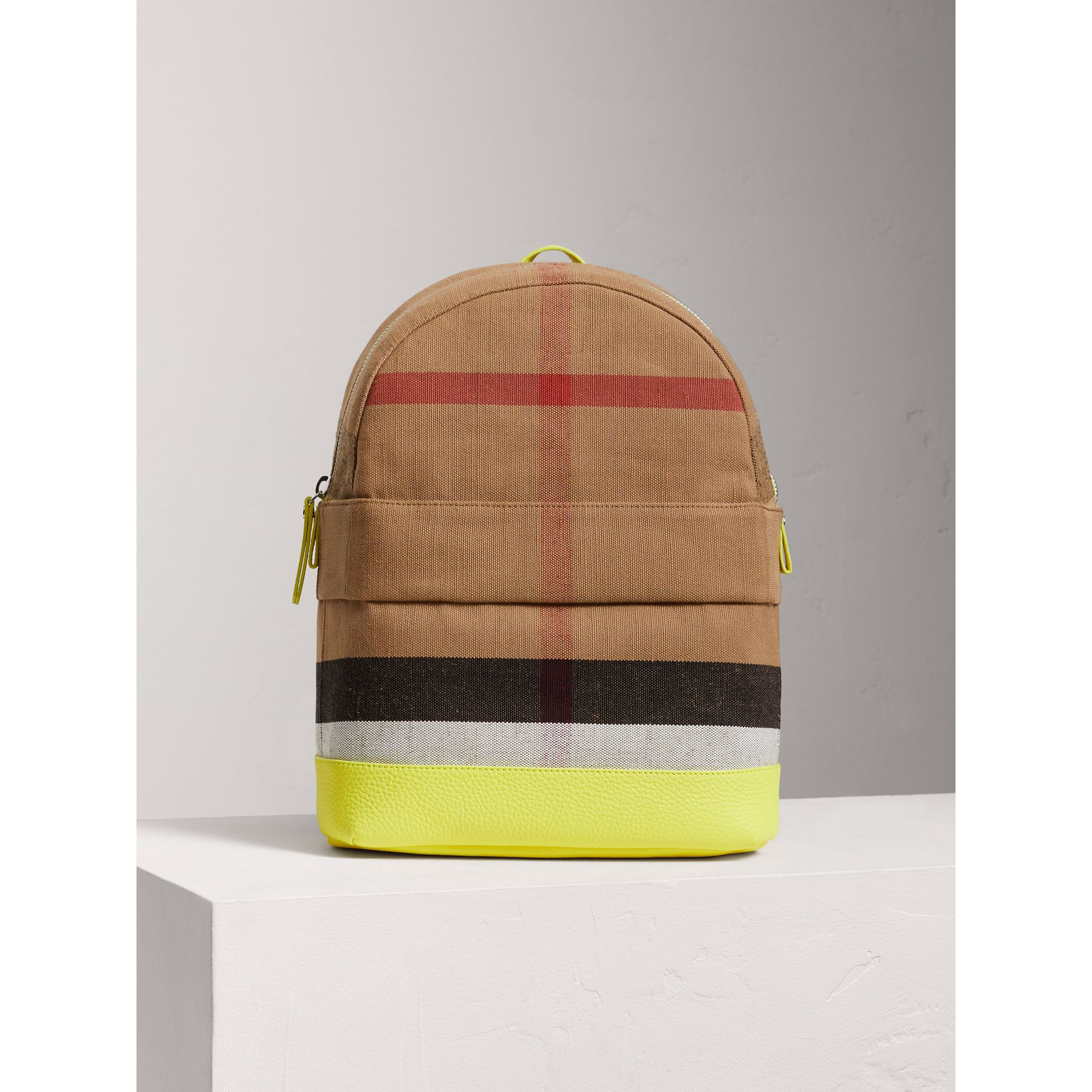 Canvas Check and Leather Backpack in Neon Yellow | Burberry United States - gallery image 4