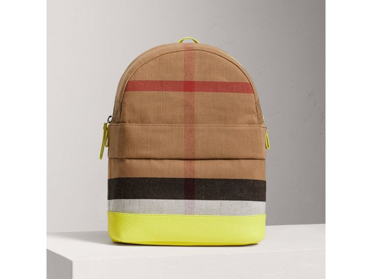 Canvas Check and Leather Backpack in Neon Yellow | Burberry - cell image 4