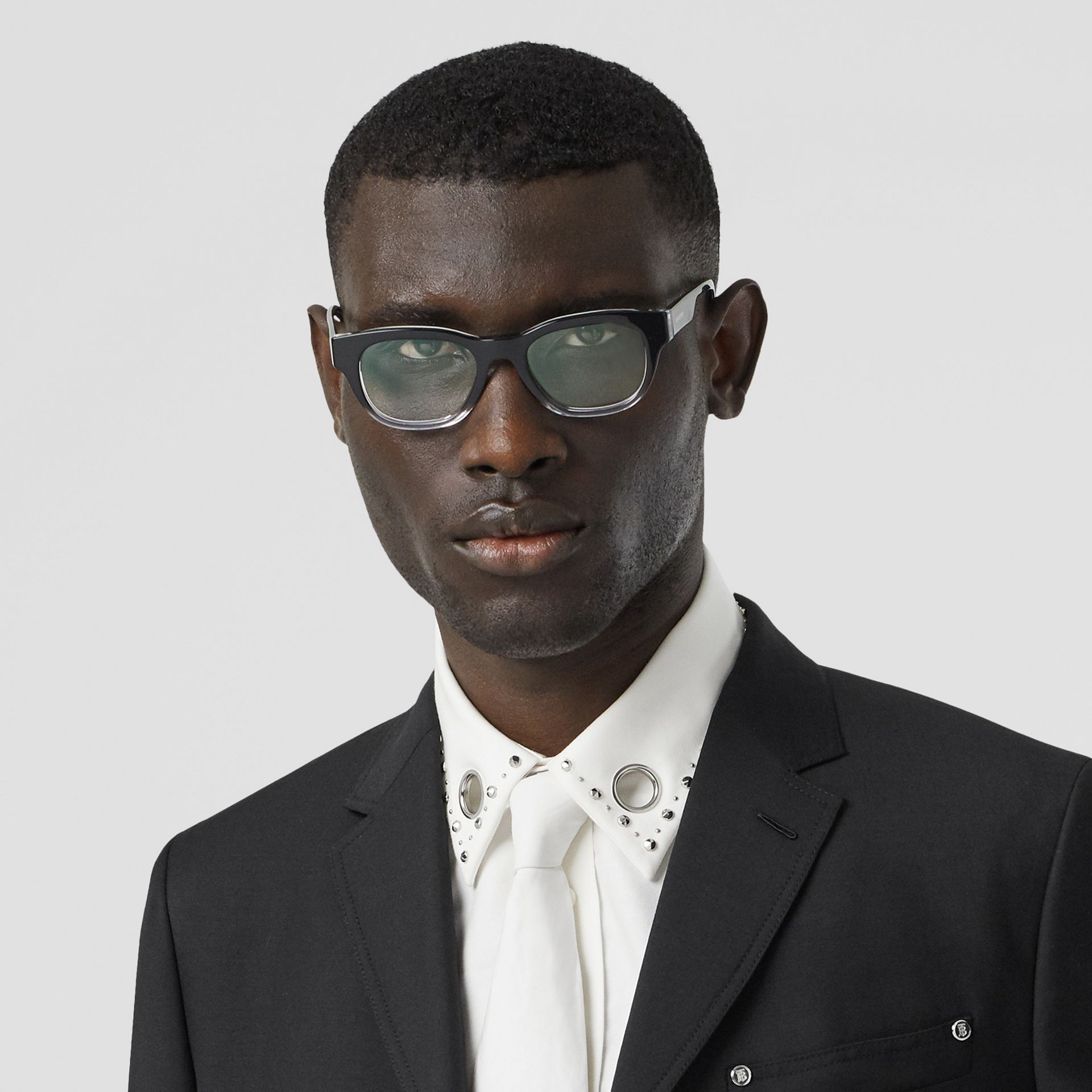Square Optical Frames in Black - Men | Burberry United Kingdom - gallery image 2