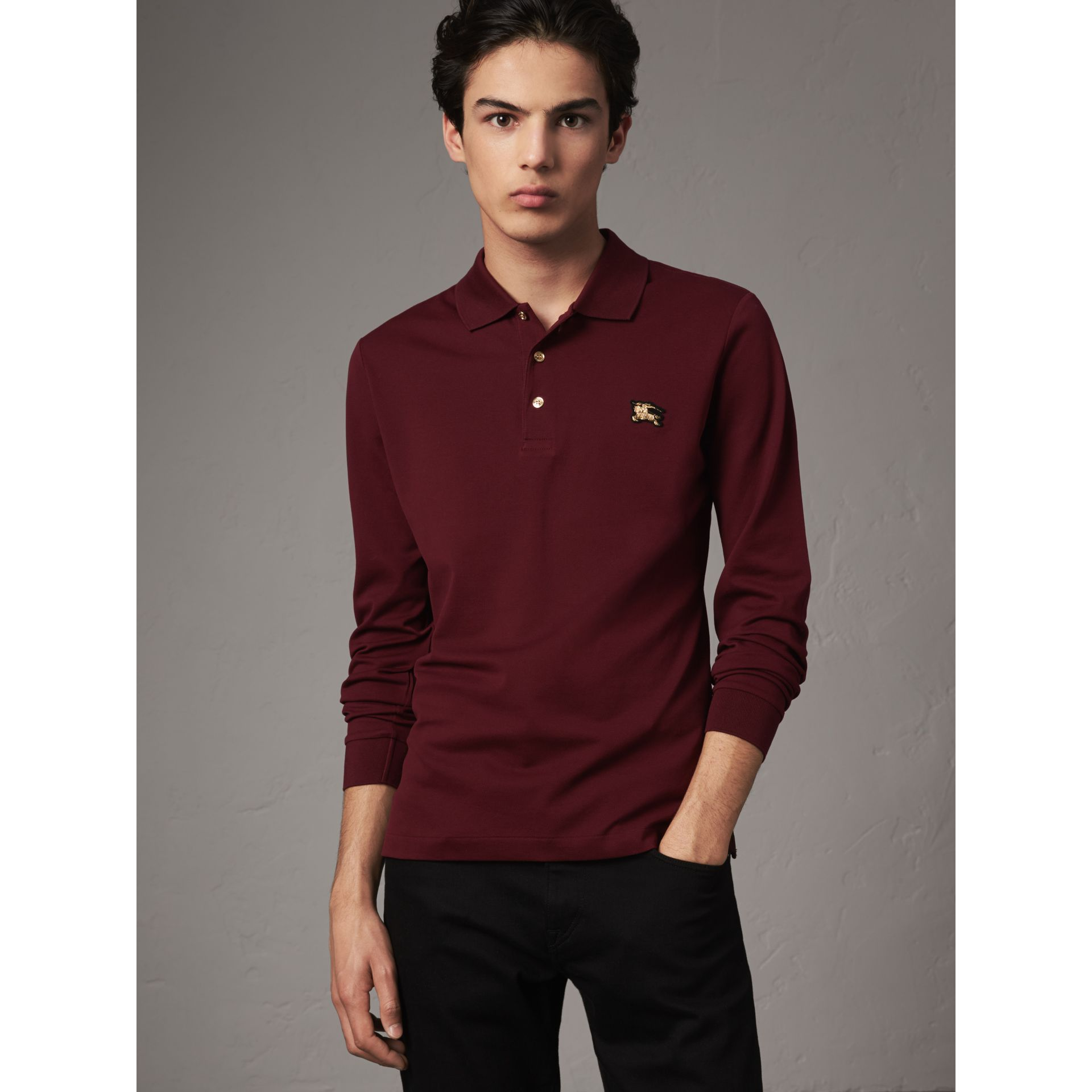 Long-sleeve Cotton Piqué Polo Shirt in Burgundy Red - Men | Burberry - gallery image 1