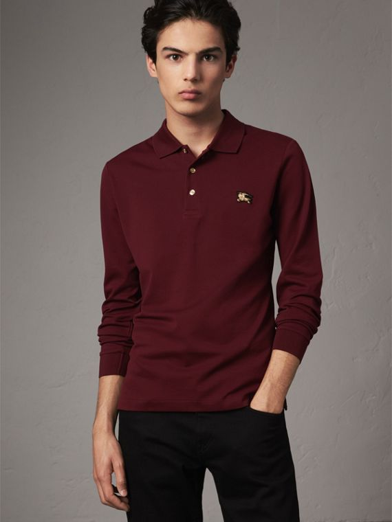 Long-sleeve Cotton Piqué Polo Shirt in Burgundy Red