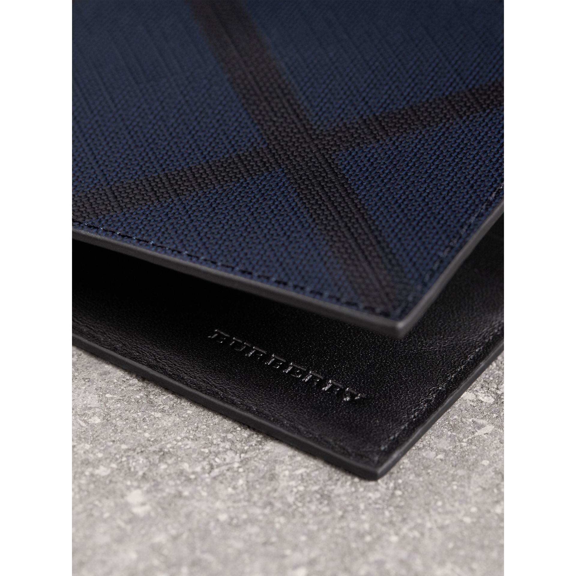 London Check and Leather Bifold Wallet in Navy/black - Men | Burberry Canada - gallery image 1