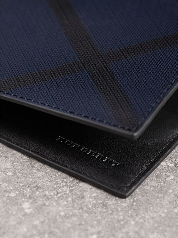 London Check and Leather Bifold Wallet in Navy/black - Men | Burberry Canada - cell image 1