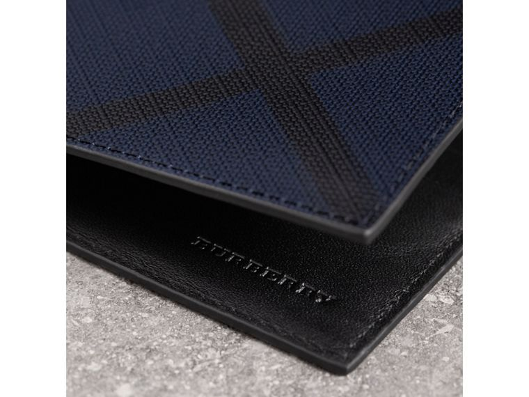 London Check and Leather Bifold Wallet in Navy/black - Men | Burberry Singapore - cell image 1