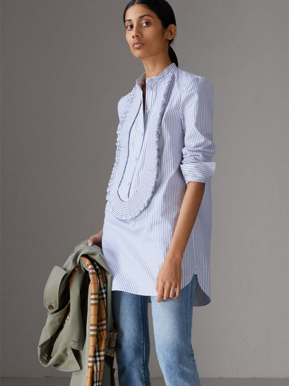Ruffle Detail Striped Cotton Tunic Shirt in Navy/white