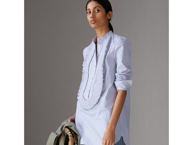 Ruffle Detail Striped Cotton Tunic Shirt in Navy/white - Women | Burberry - cell image 4