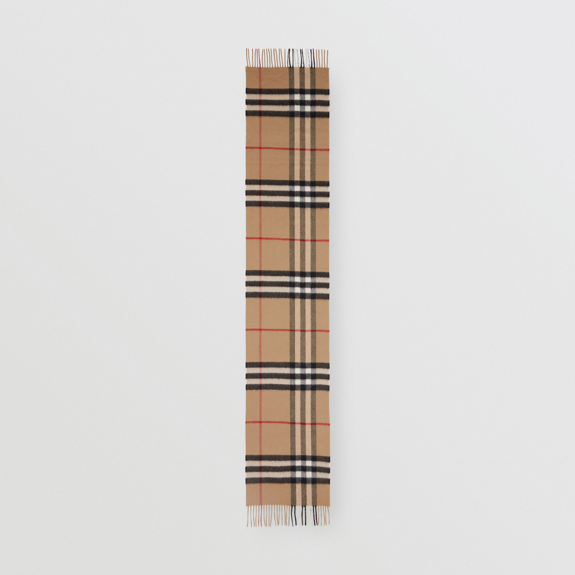 The Classic Check Cashmere Scarf in Archive Beige | Burberry United Kingdom - gallery image 5