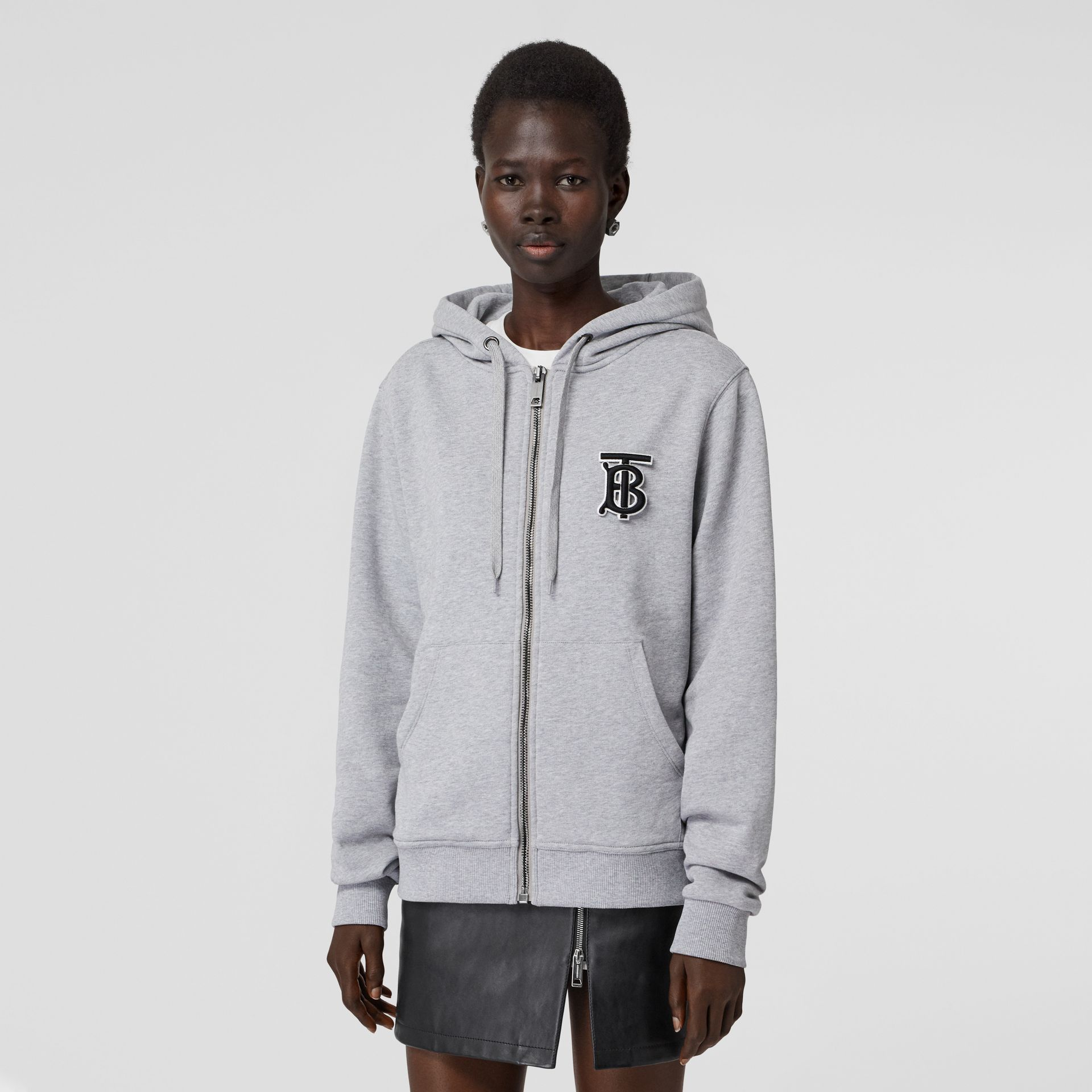 Monogram Motif Cotton Oversized Hooded Top in Pale Grey Melange - Women | Burberry - gallery image 0