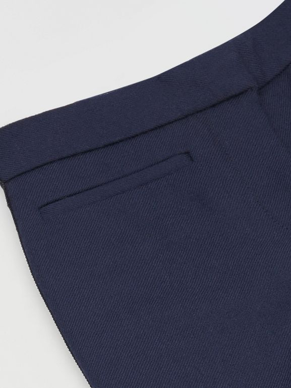 Stripe Detail Wool Twill Tailored Trousers in Navy - Girl | Burberry United States - cell image 1
