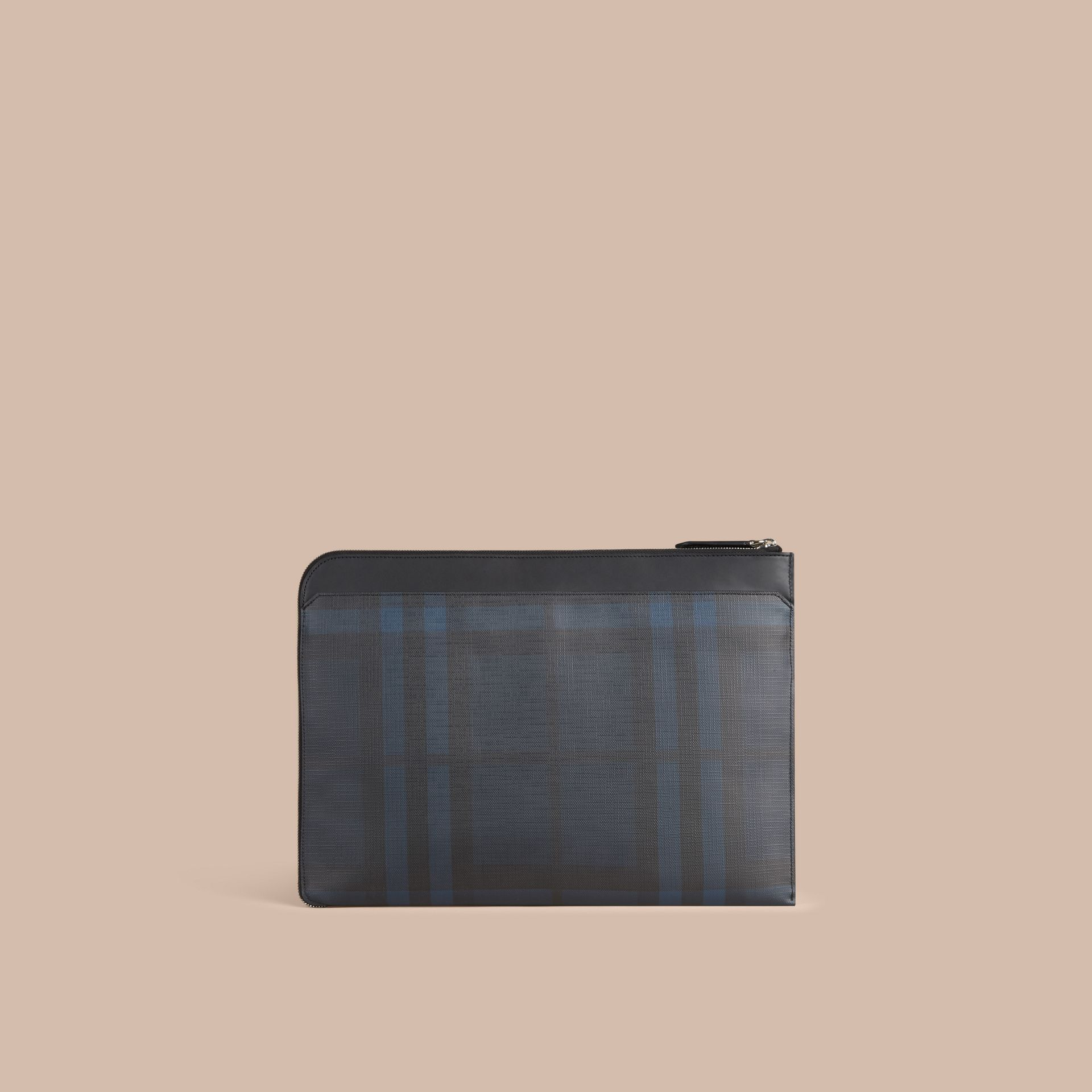 London Check Document Case in Navy/black - gallery image 6