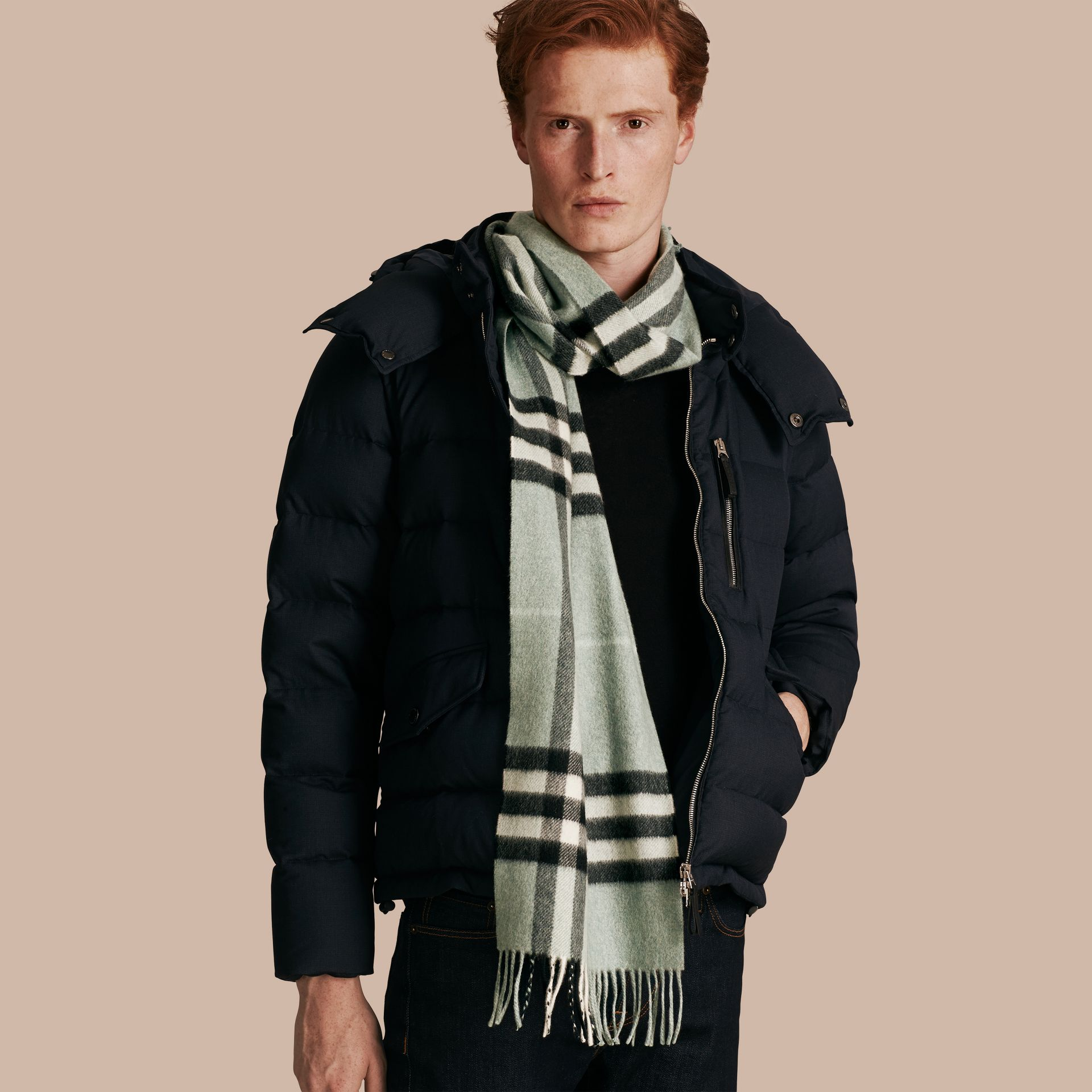 The Classic Cashmere Scarf in Check Dusty Mint - gallery image 4
