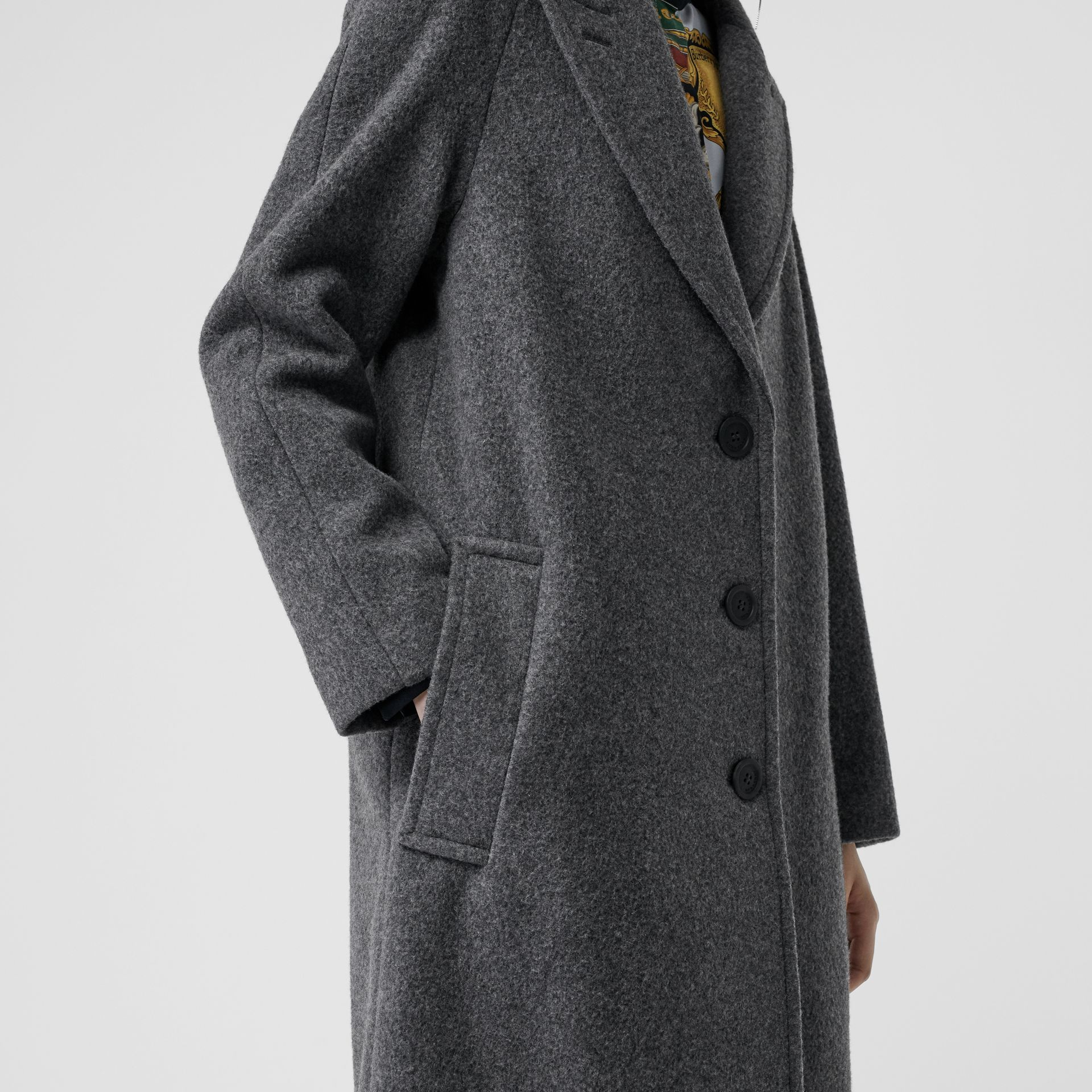 Wool Blend Tailored Coat in Mid Grey Melange - Women | Burberry - gallery image 5