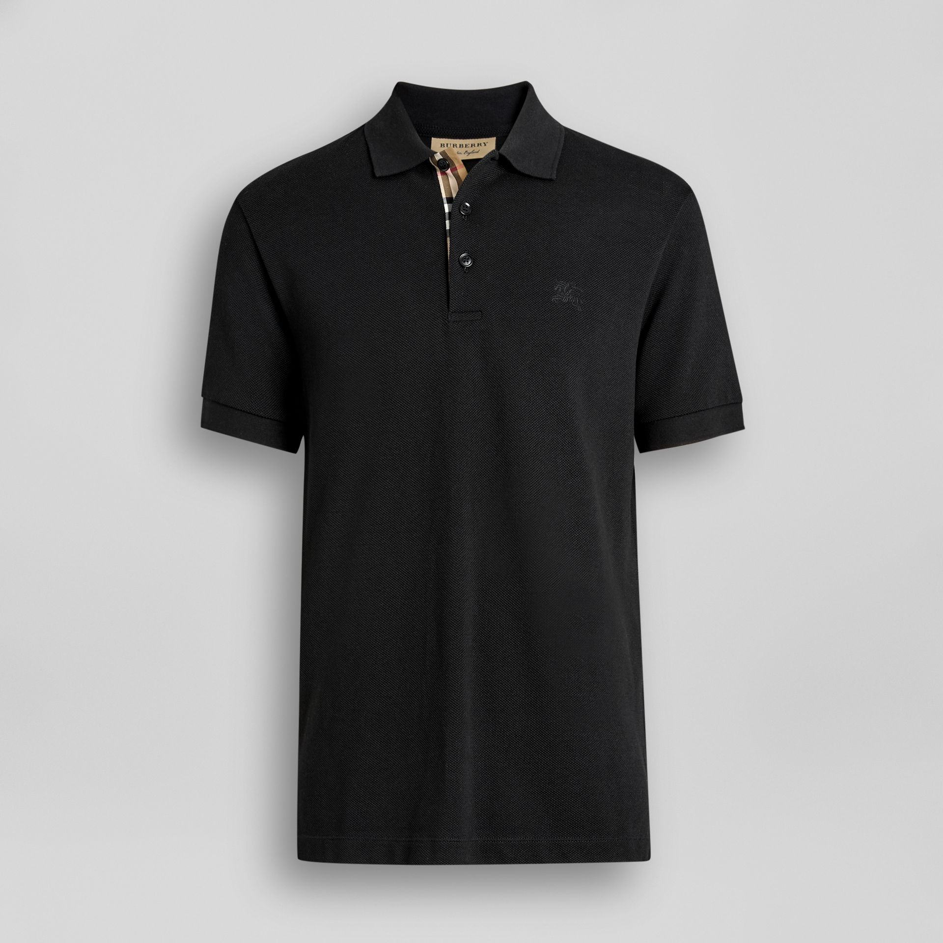 Check Placket Cotton Polo Shirt in Black - Men | Burberry Singapore - gallery image 3