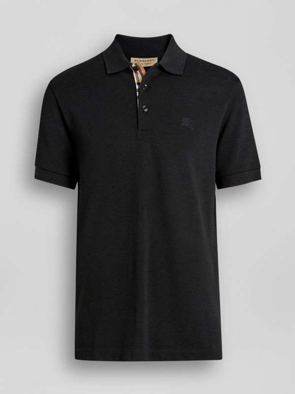 Check Placket Cotton Polo Shirt in Black - Men | Burberry Singapore - cell image 3