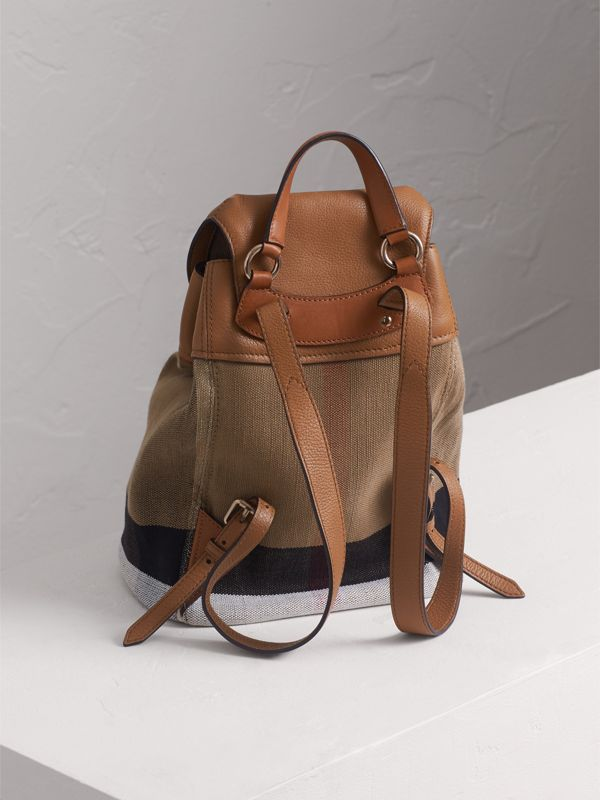 Canvas Check Backpack in Sand - Girl | Burberry - cell image 2