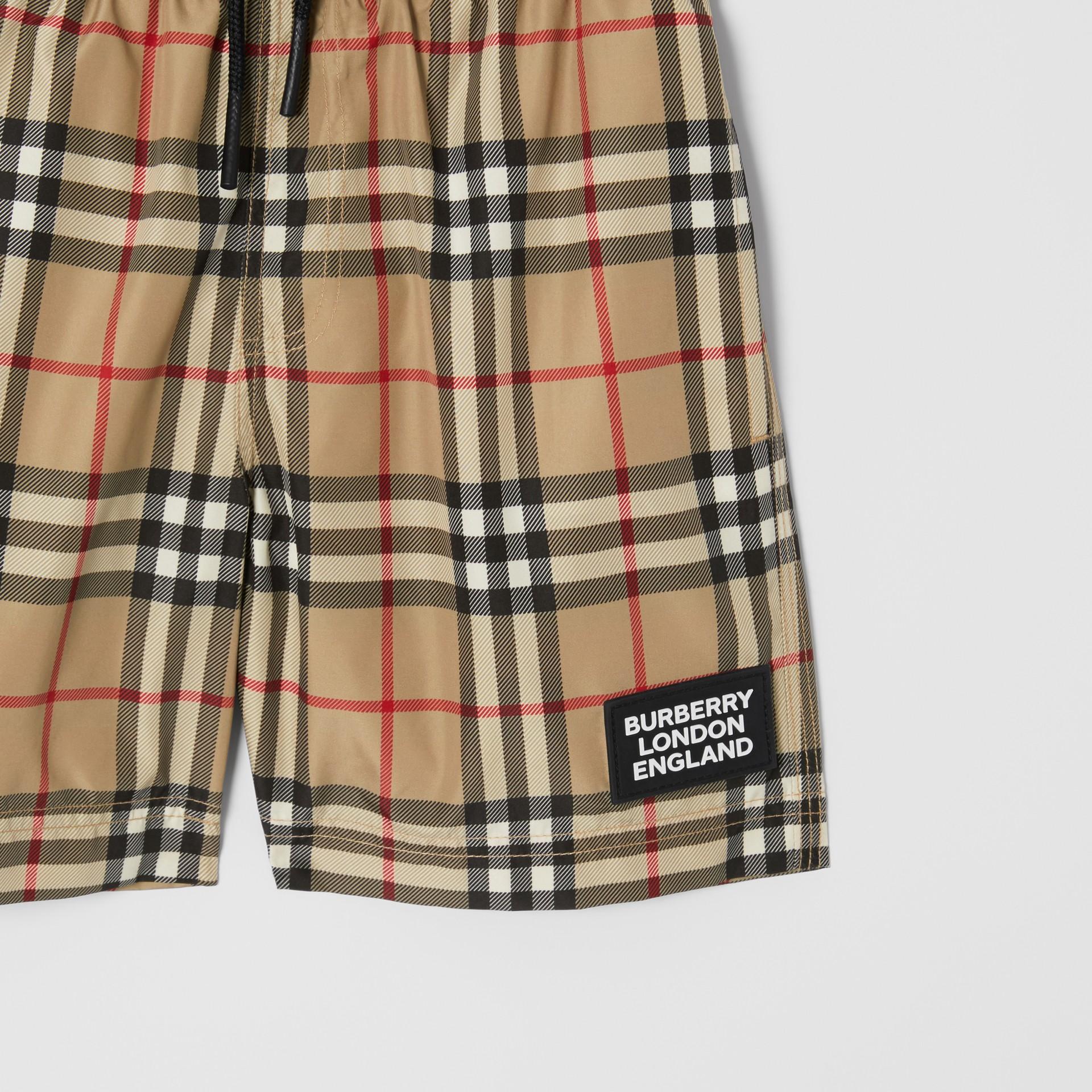 Logo Appliqué Vintage Check Swim Shorts in Archive Beige | Burberry - gallery image 4