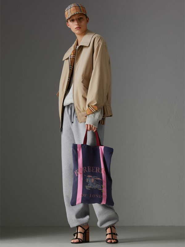 Medium Archive Logo Jersey Shopper in Navy/rose Pink | Burberry Australia - cell image 2