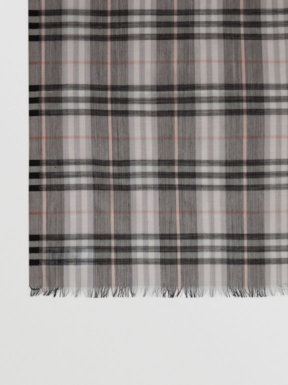 Vintage Check Lightweight Wool Silk Scarf in Apricot | Burberry Australia - cell image 1