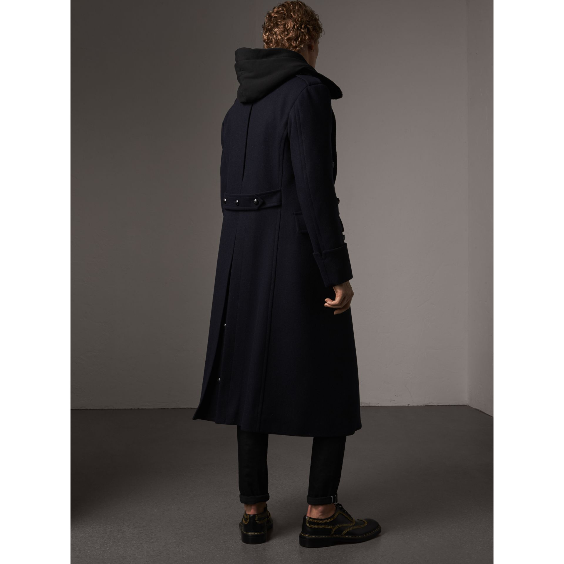 Detachable Mink Collar Wool Greatcoat in Navy - Men | Burberry Singapore - gallery image 3