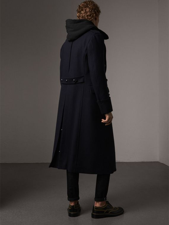 Detachable Mink Collar Wool Greatcoat in Navy - Men | Burberry Singapore - cell image 2