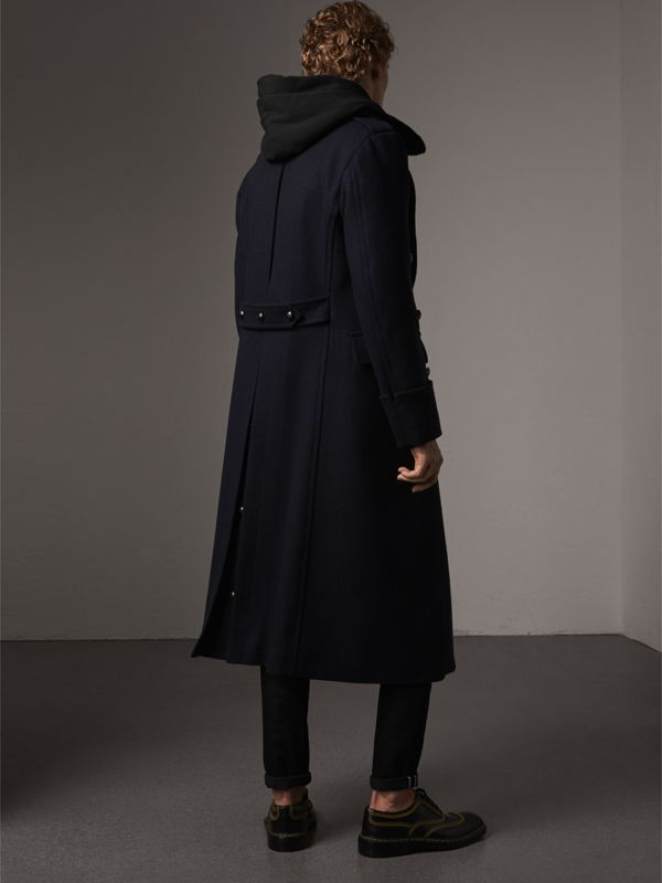 Detachable Mink Collar Wool Greatcoat in Navy - Men | Burberry - cell image 2