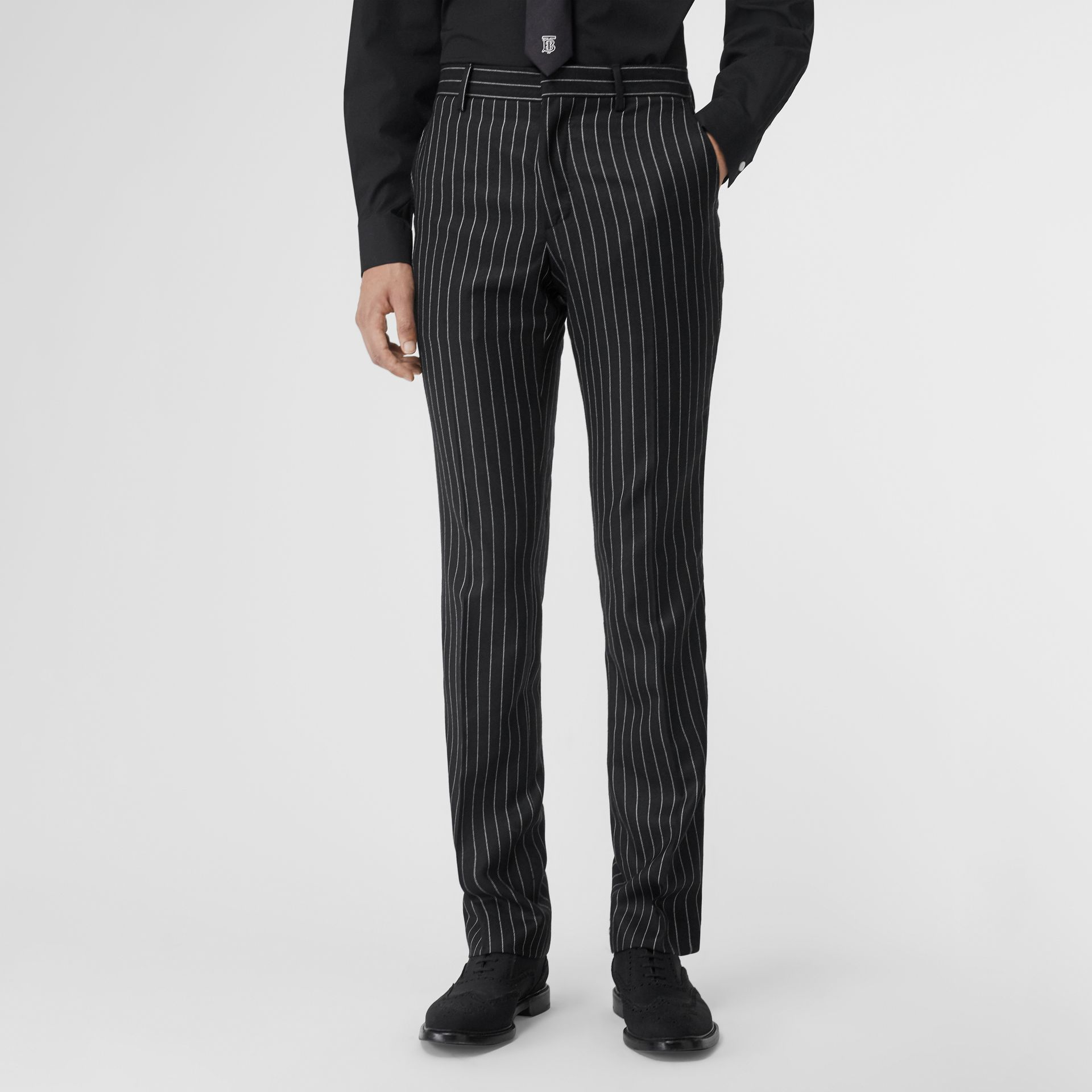 Classic Fit Pinstriped Wool Tailored Trousers in Black/white | Burberry Singapore - gallery image 4