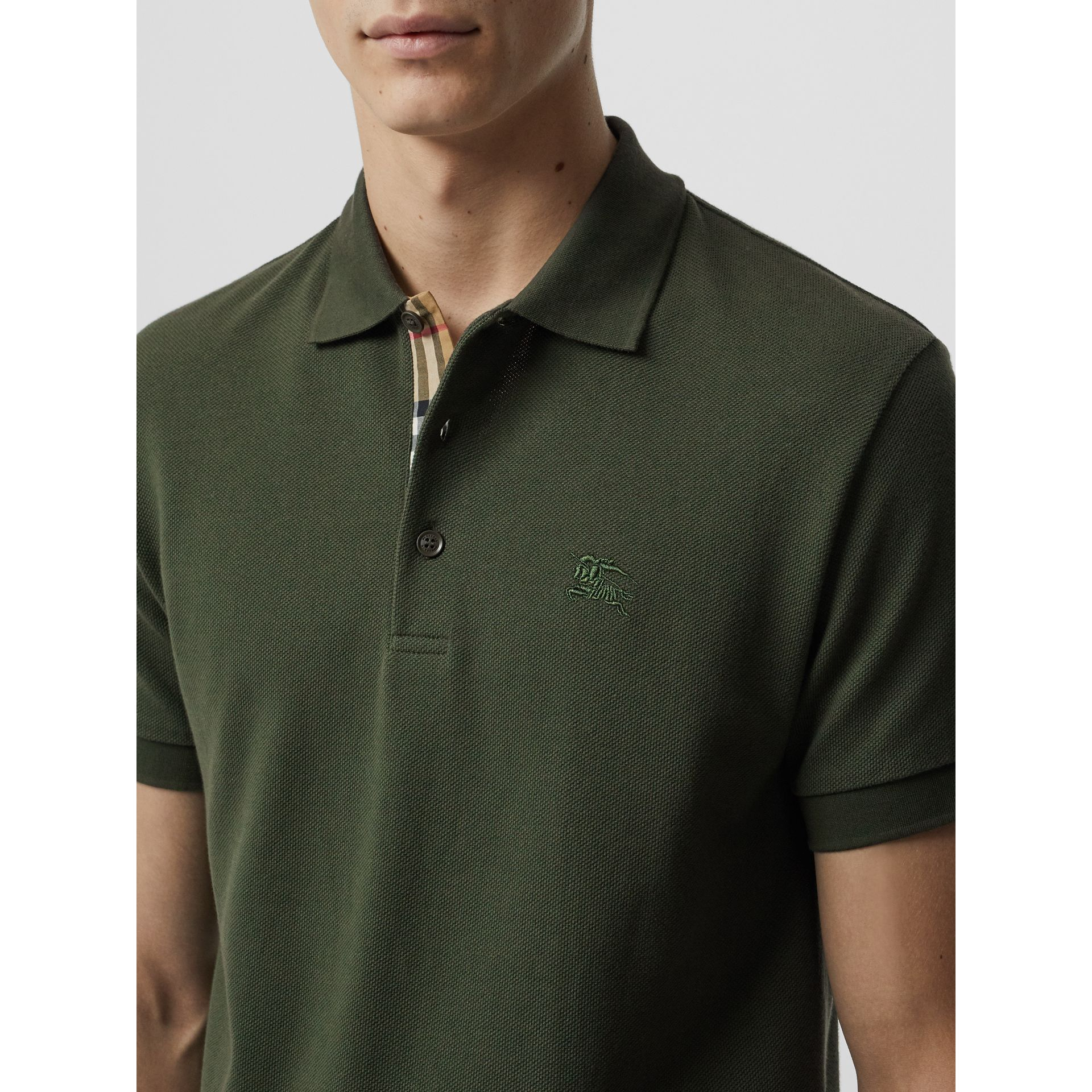 Check Placket Cotton Polo Shirt in Dark Antique Green - Men | Burberry - gallery image 1