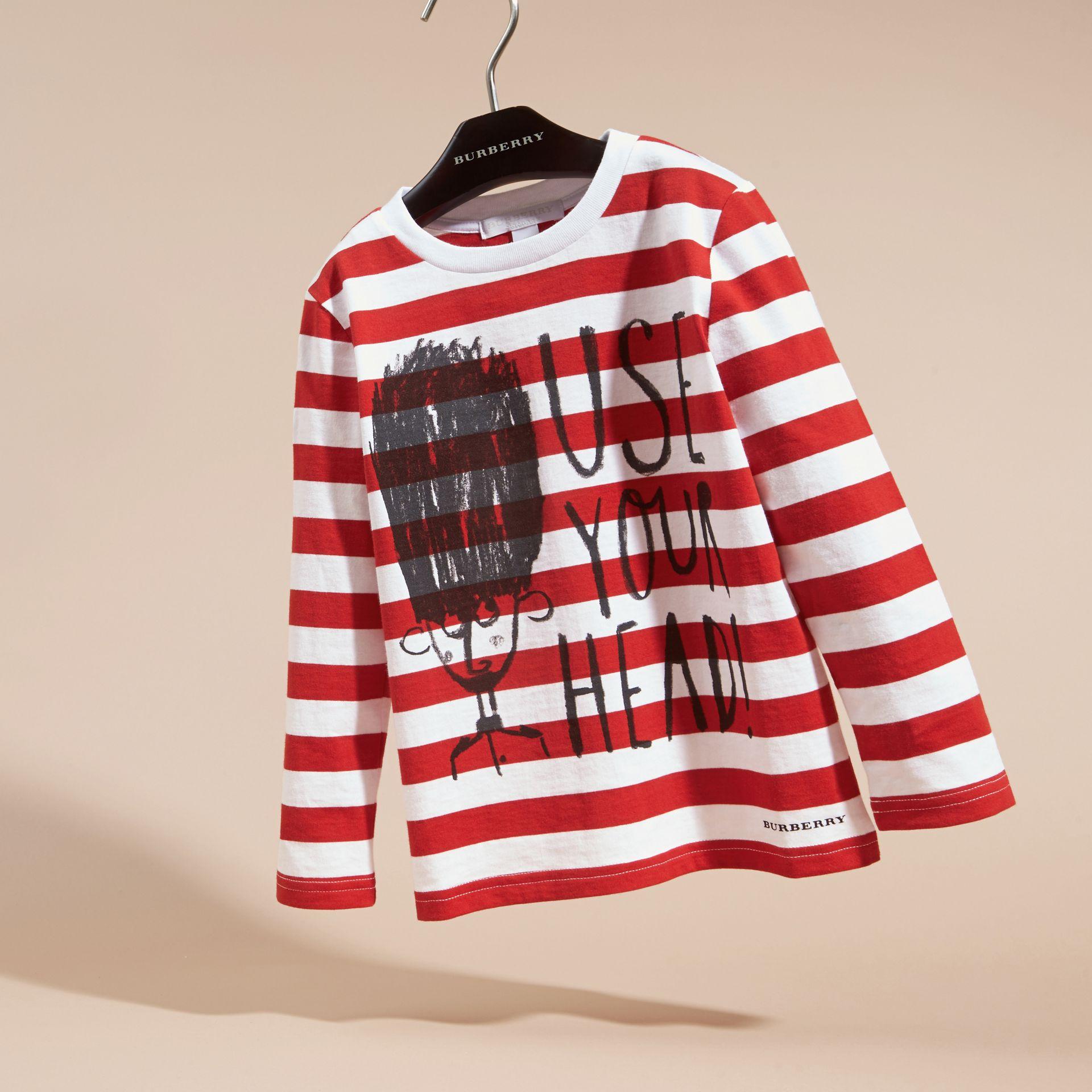 Long-sleeved Use Your Head Graphic Cotton T-shirt in Parade Red - gallery image 3
