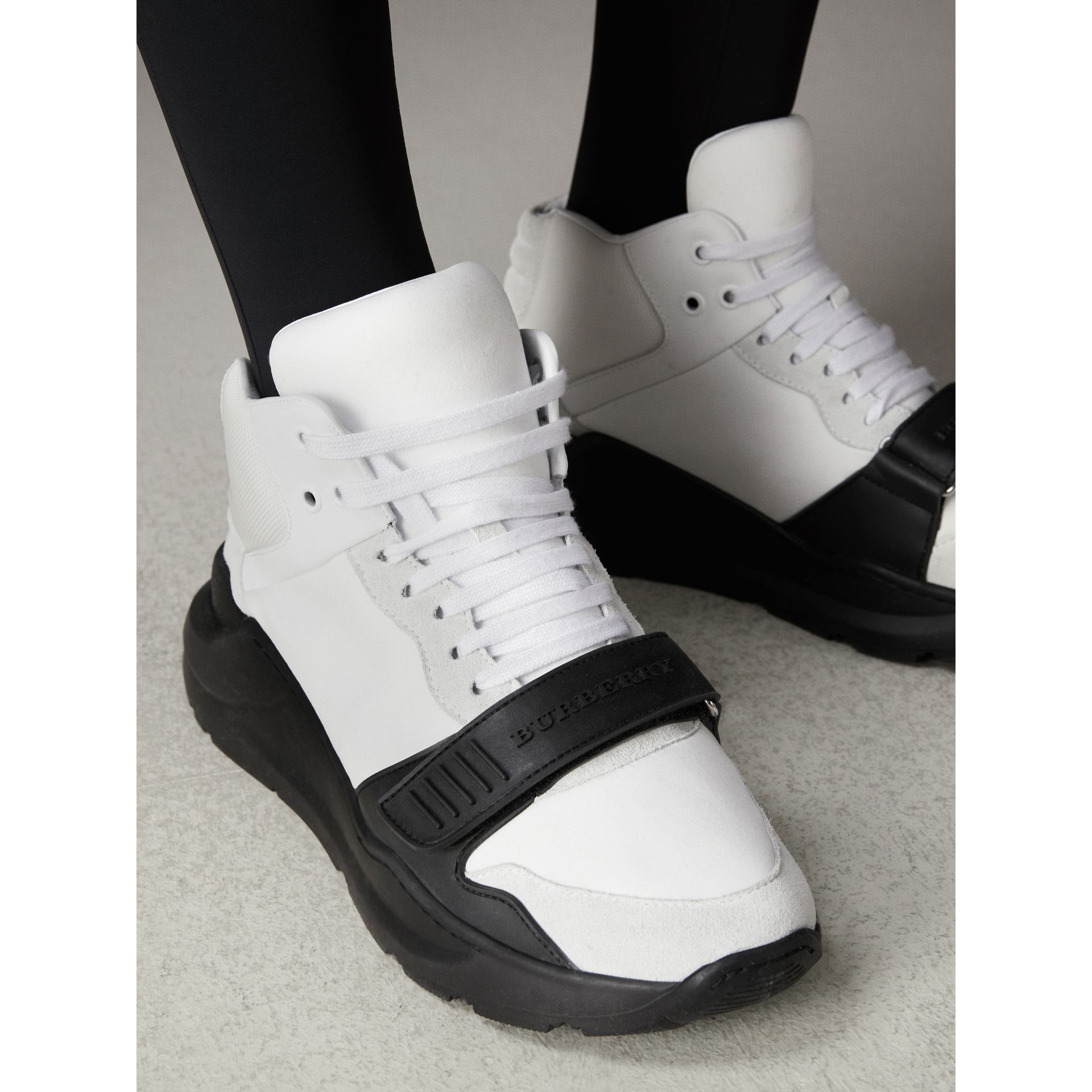 Suede Trim Neoprene High-top Sneakers in Optic White/black | Burberry United States - gallery image 2