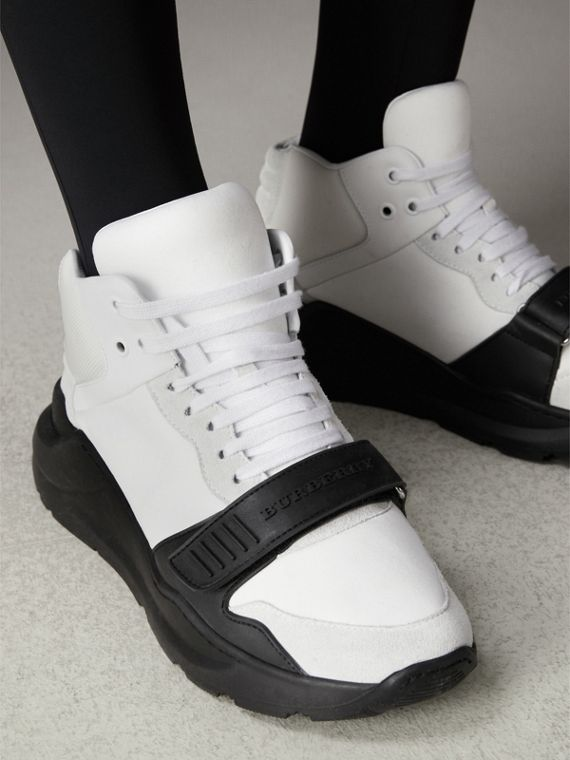 Suede Trim Neoprene High-top Sneakers in Optic White/black | Burberry - cell image 2