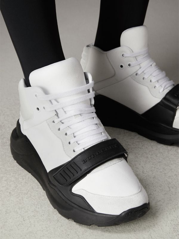 Suede and Neoprene High-top Sneakers in Optic White/black | Burberry Singapore - cell image 2