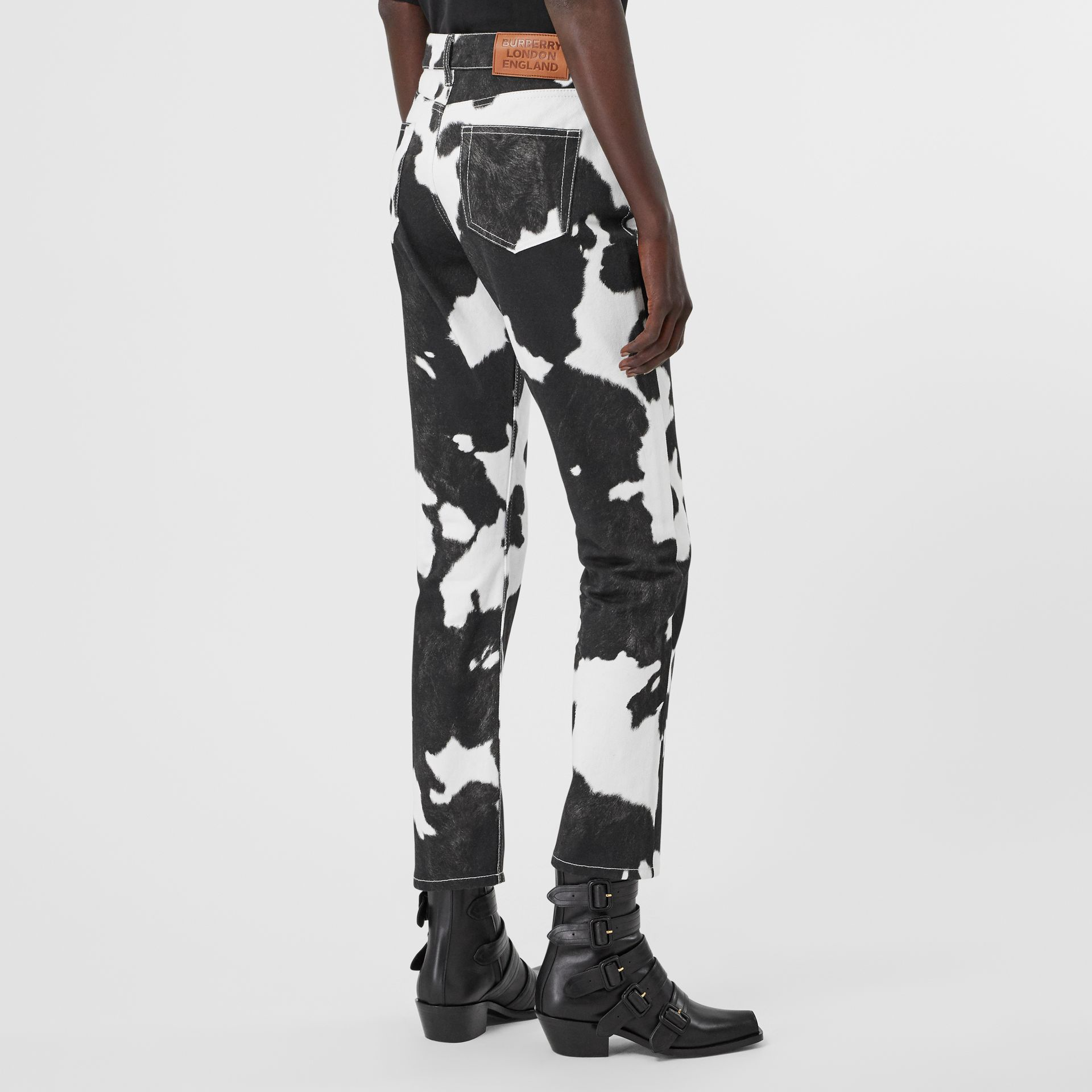 Straight Fit Cow Print Jeans in Black - Women | Burberry Canada - gallery image 2