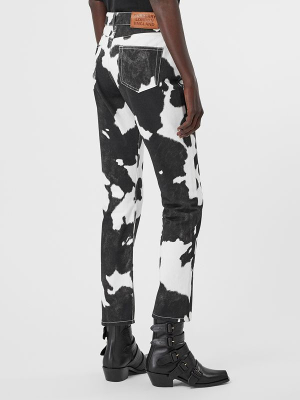 Straight Fit Cow Print Jeans in Black - Women | Burberry United Kingdom - cell image 2