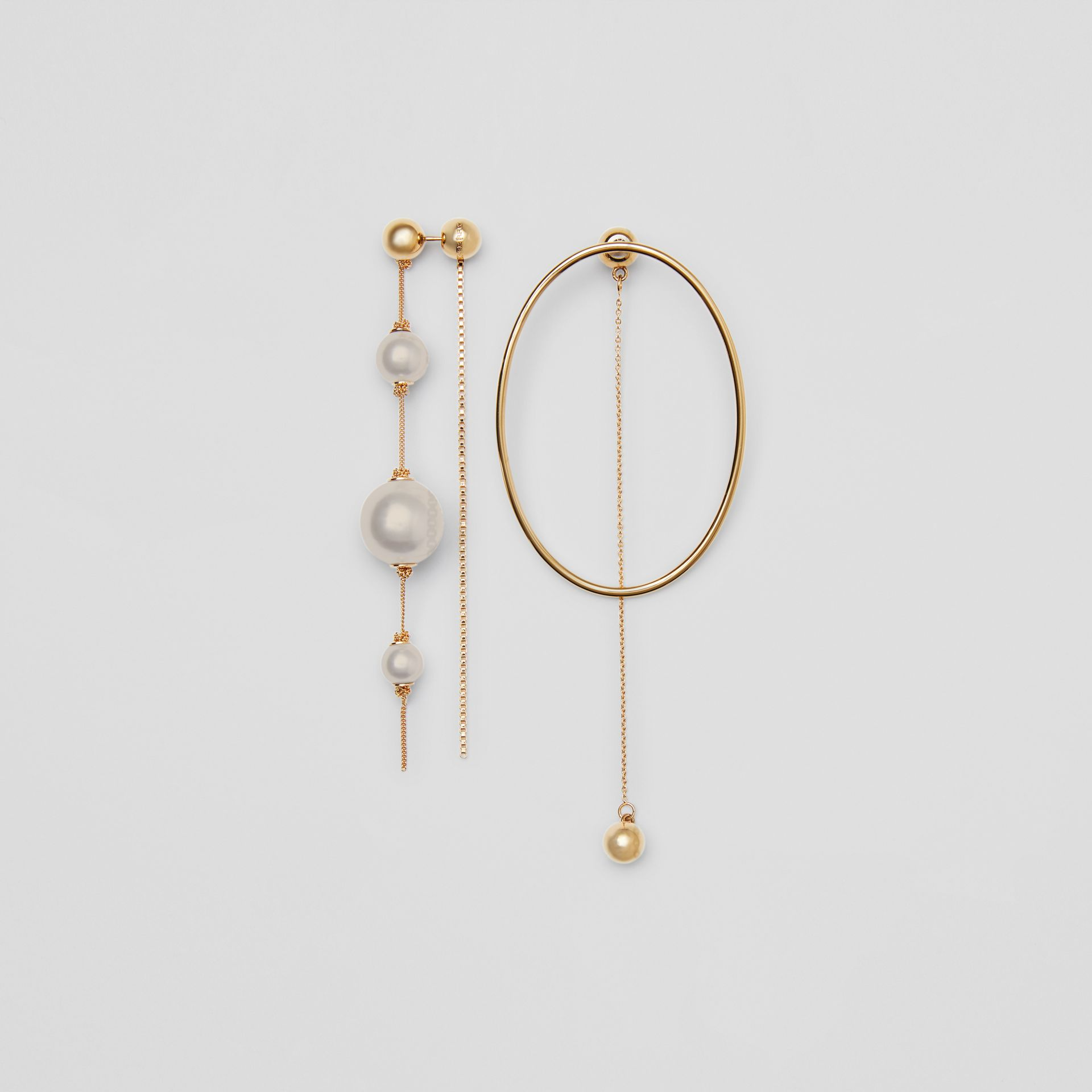 Faux Pearl and Oval Gold-plated Drop Earrings in Light - Women | Burberry - gallery image 0