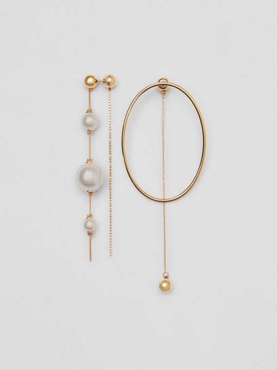 Faux Pearl and Oval Gold-plated Drop Earrings in Light