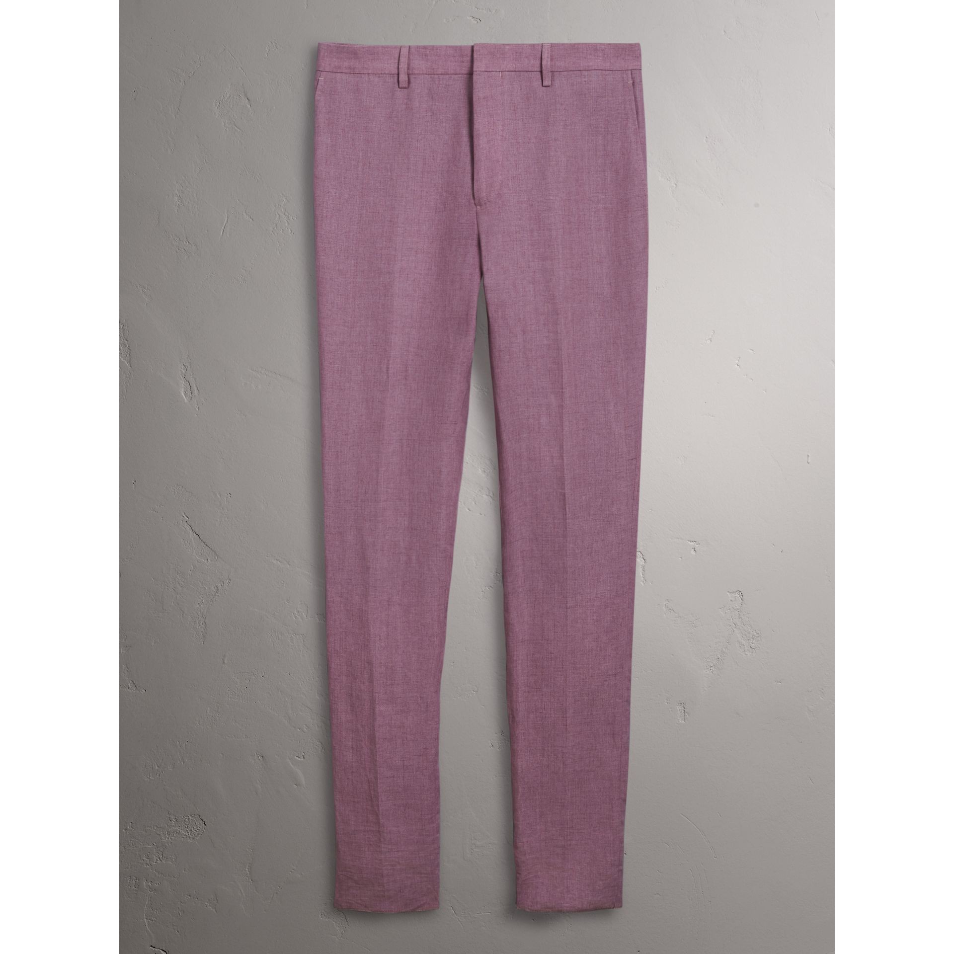 Soho Fit Linen Trousers in Pink Heather - Men | Burberry - gallery image 3