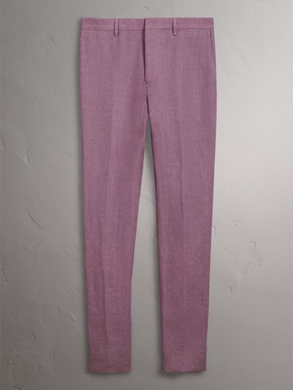 Pantalon de coupe Soho en lin (Pourpre Rose) - Homme | Burberry - cell image 3